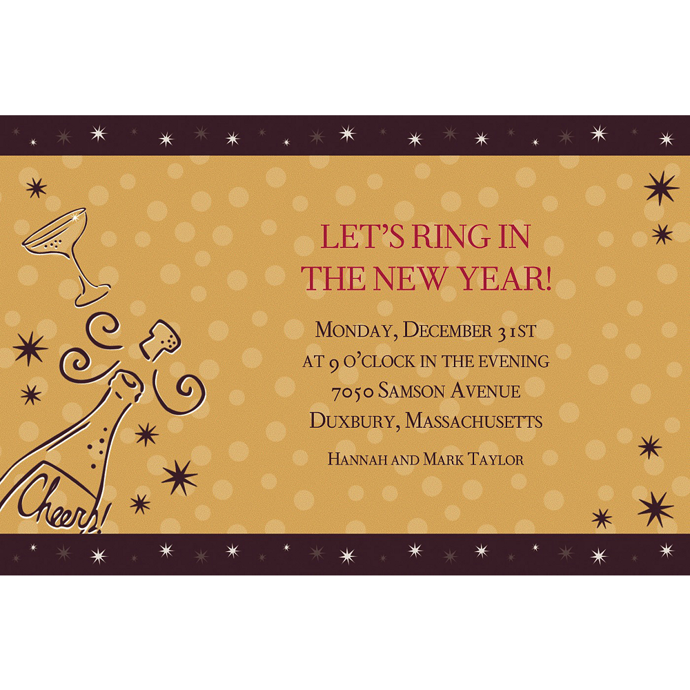 custom midnight toast new years invitations