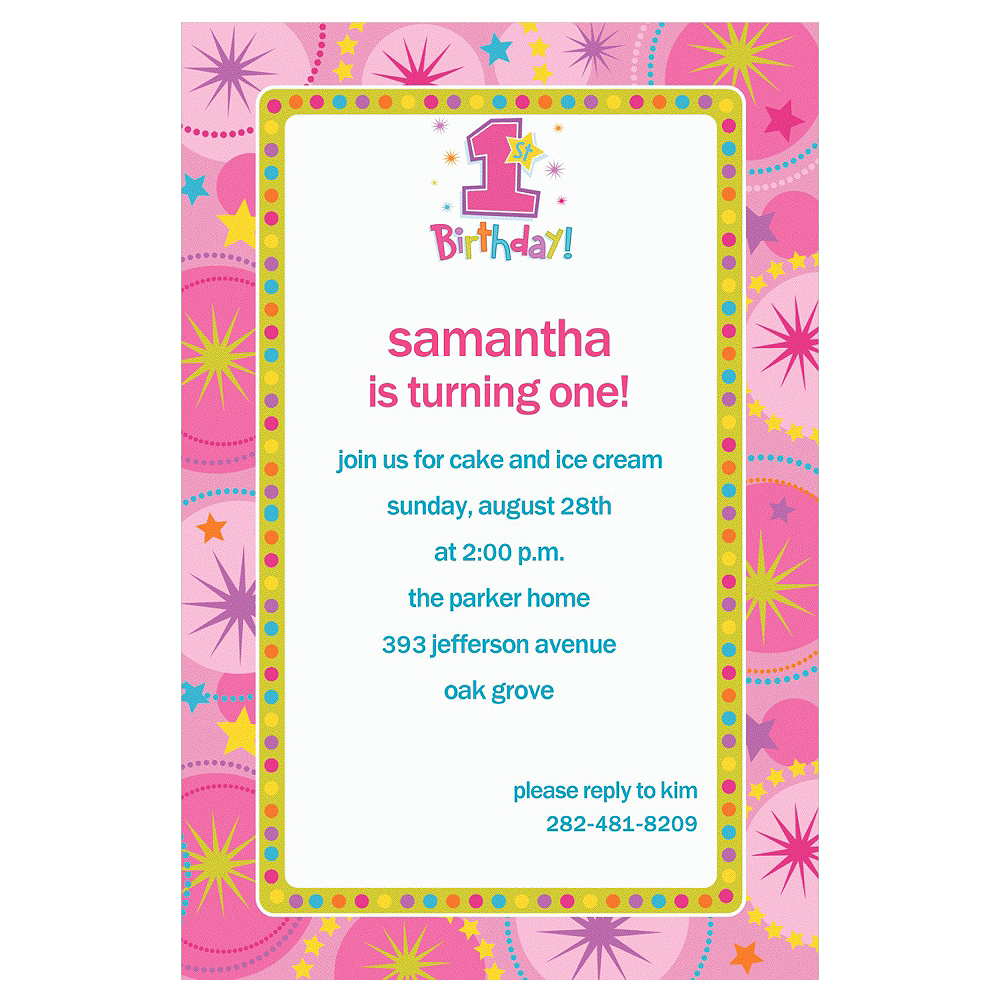 Custom One-Derful Girl 1st Birthday Invitations Image #1