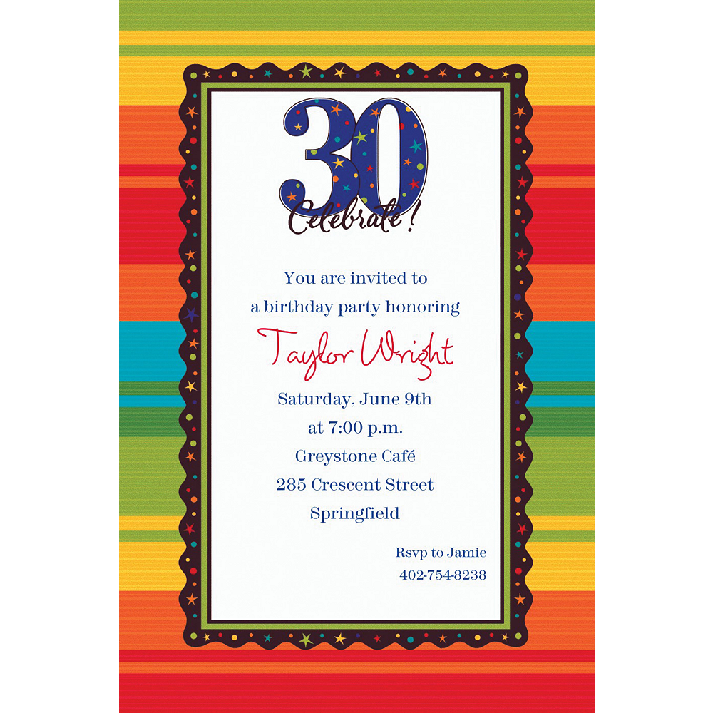 Custom A Year To Celebrate 30th Birthday Invitations Image 1