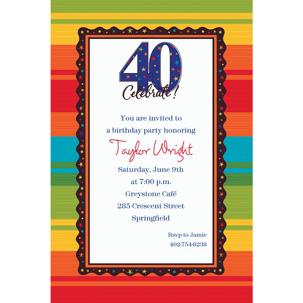 Nav Item for Custom A Year to Celebrate 40th Birthday Invitations  Image #1
