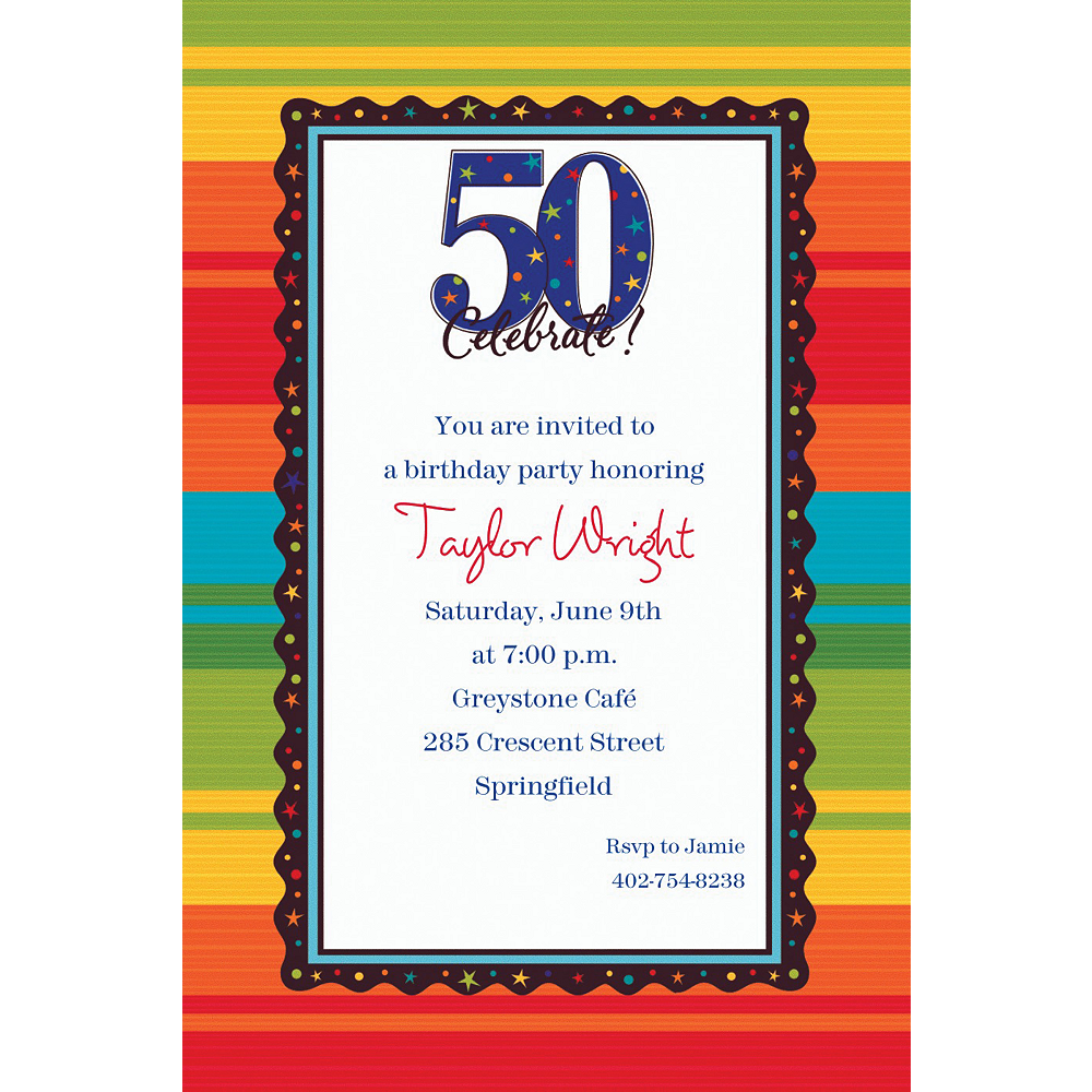 Custom A Year to Celebrate 50th Birthday Invitations | Party City