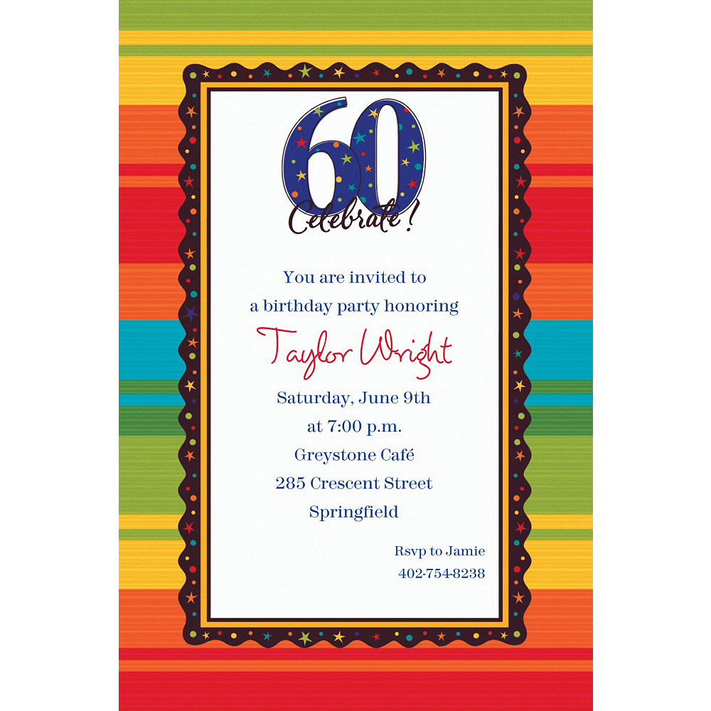 Custom A Year To Celebrate 60th Birthday Invitations Image 1