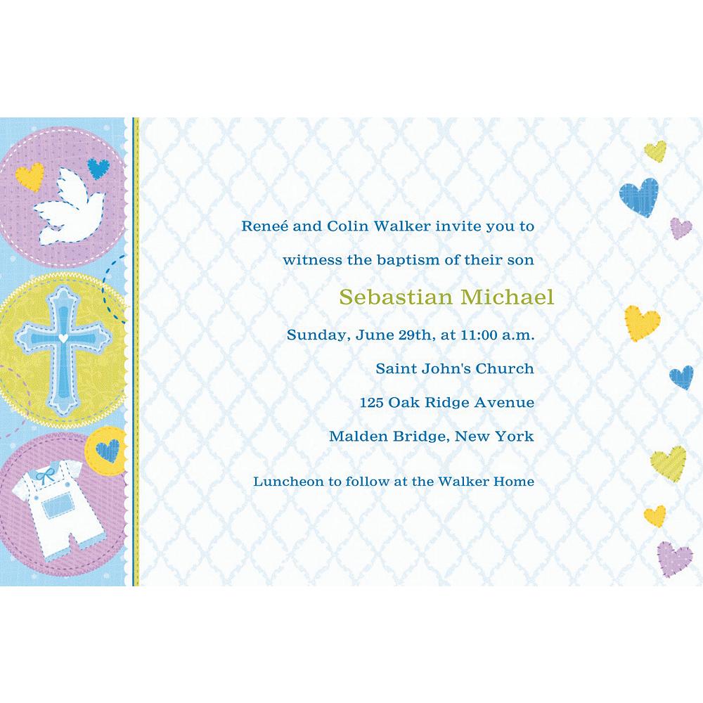 Custom Blue Sweet Religious Invitations Image #1