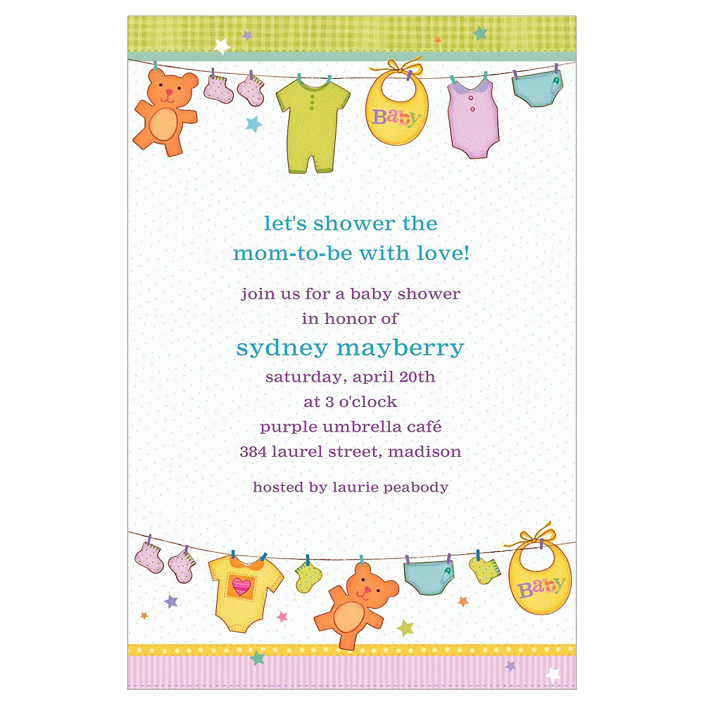 Custom Cuddly Clothesline Baby Shower Invitations  Image #1