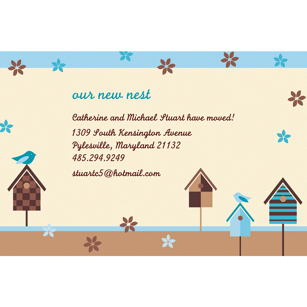 Custom Quaint Birdhouse Moving Announcements Image #1