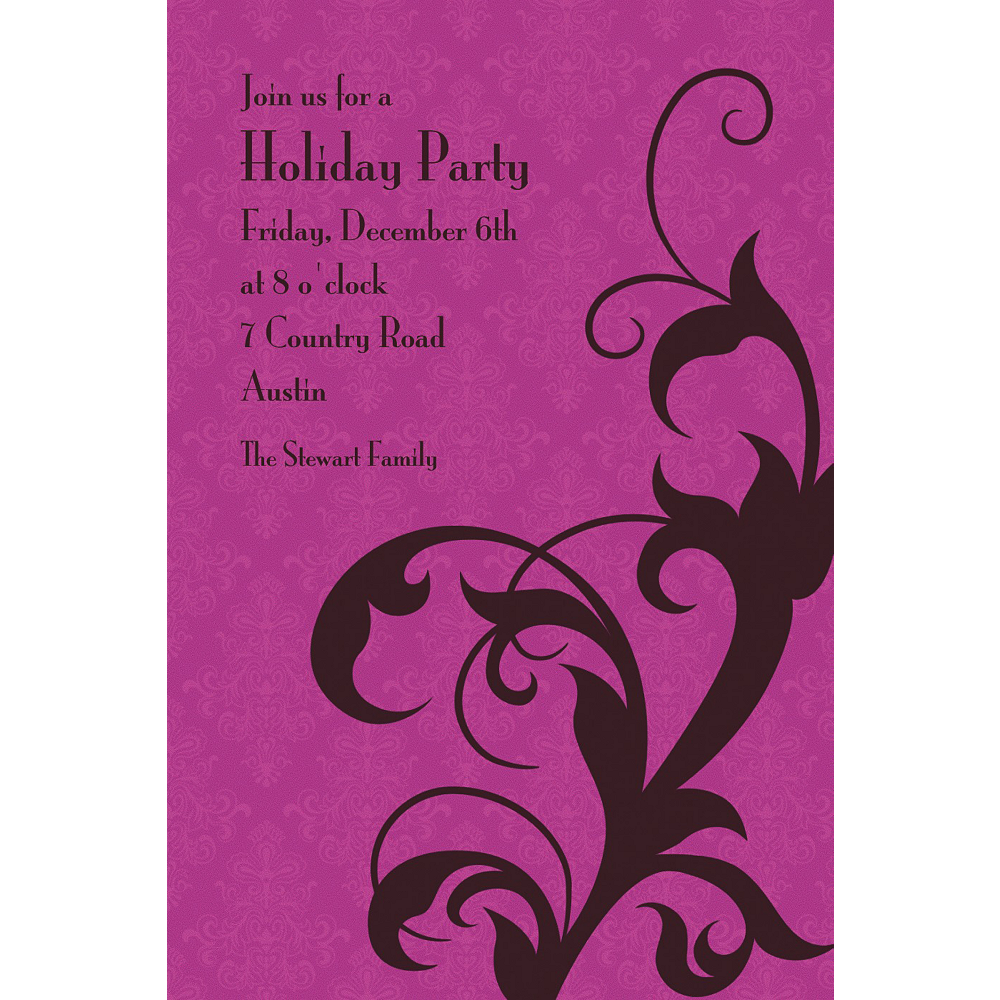 Custom Holiday Filigree Purple Invitations  Image #1