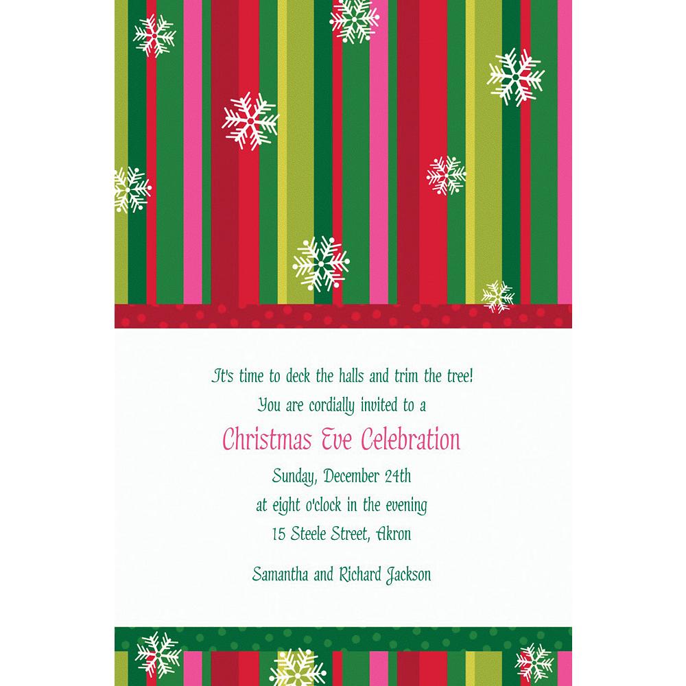 Custom Cool Holiday Stripe Invitations Image #1