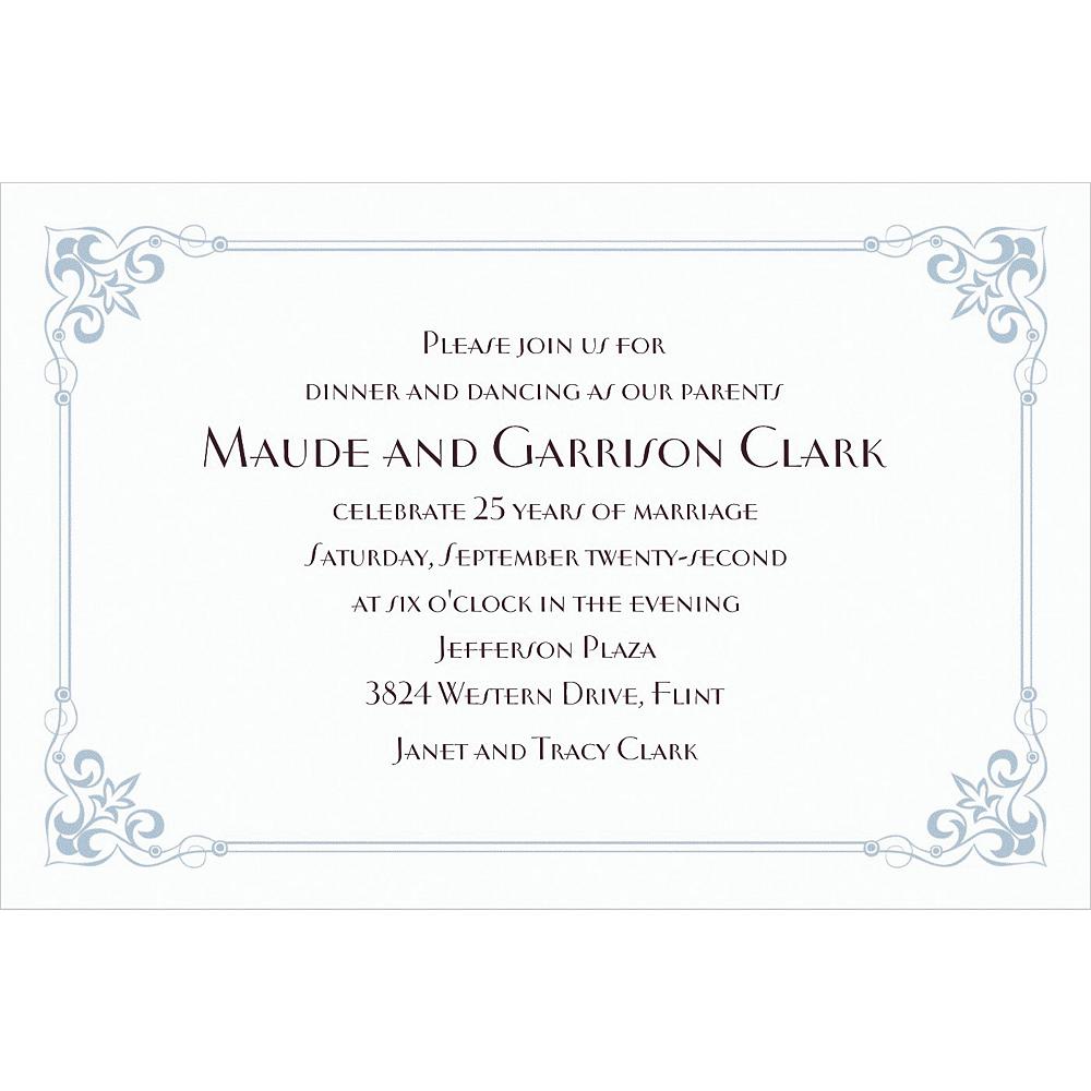 Custom Flourish Corners Silver Invitations Image #1