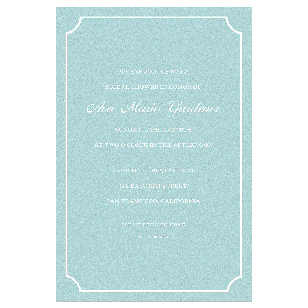 Nav Item for Custom Formal Corners Teal Invitations Image #1