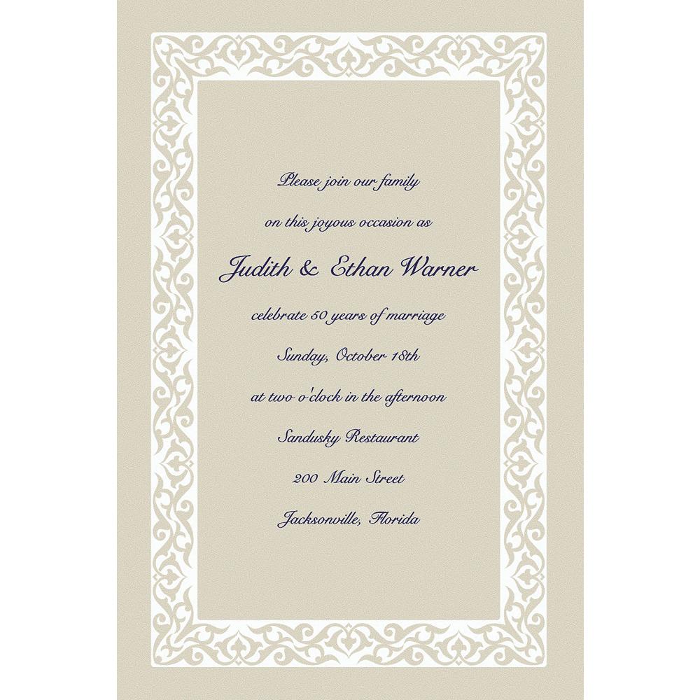 Custom Embellished Border Beige Invitations Image #1