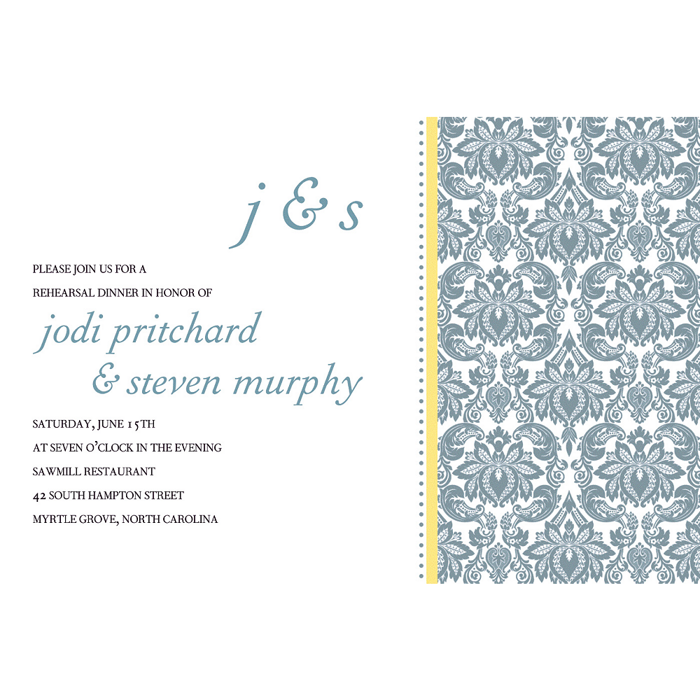 Custom Decorative Damask Yellow Invitations Image #1