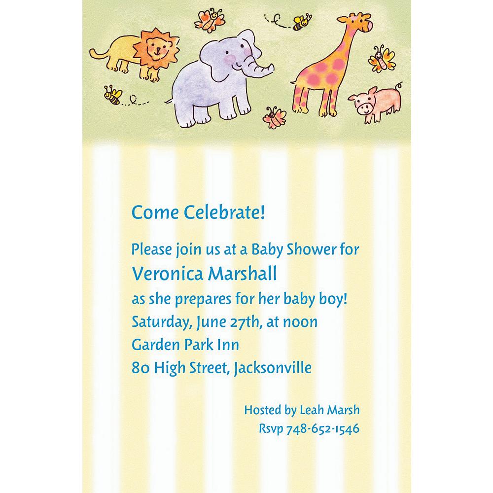 Custom Tossed Animals & Stripe Baby Shower Invitations Image #1