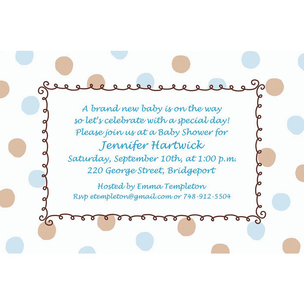 Custom Blue Dots Border Baby Shower Invitations Party City