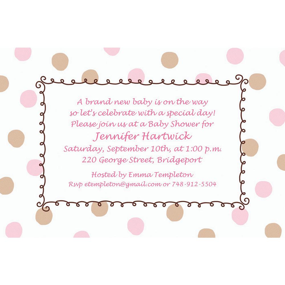 Custom pink dots border baby shower invitations party city custom pink dots border baby shower invitations filmwisefo