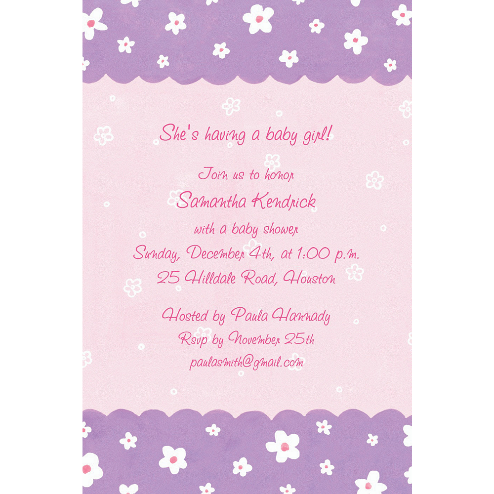 Custom Dainty Flowers Scallop Baby Shower Invitations Party City