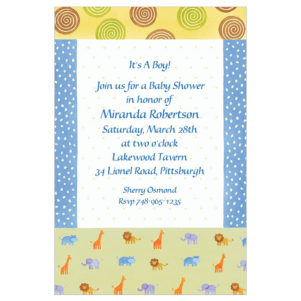 Custom Jungle Animal Patchwork Baby Shower Invitations Image #1