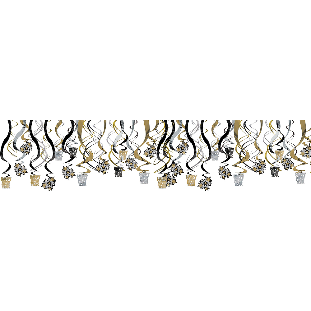 Black, Gold & Silver New Year's Swirl Decorations 30ct Image #1