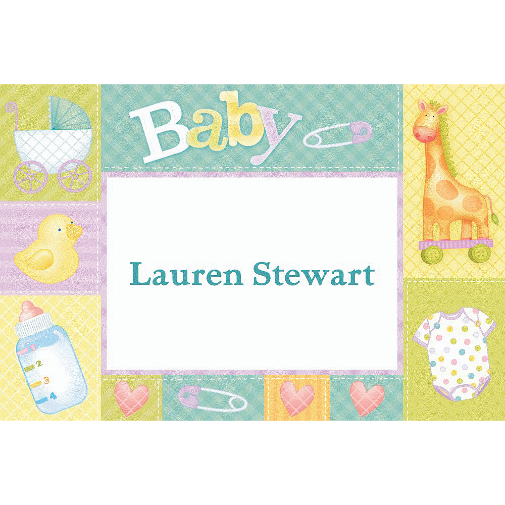 Custom Pastel Patchwork Baby Shower Thank You Notes Image #1