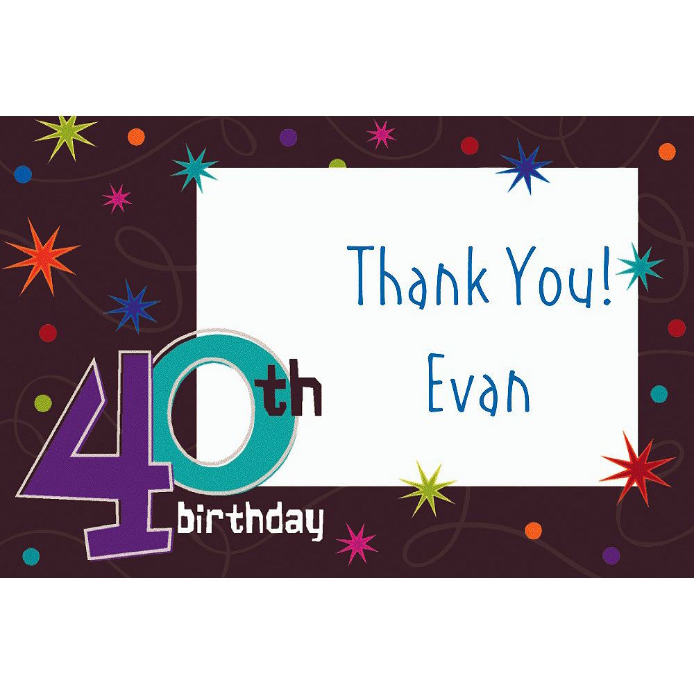 Custom The Party Continues 40th Birthday Thank You Notes Image #1