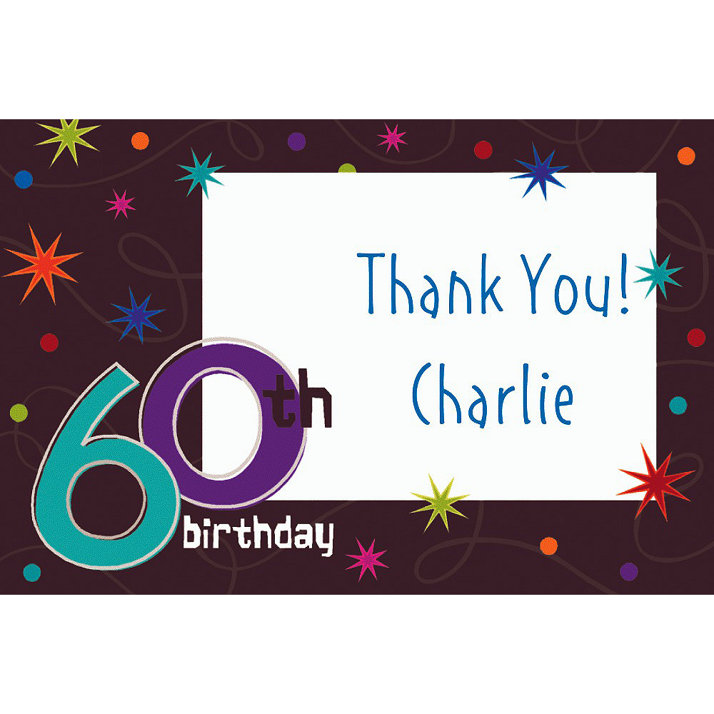 Custom The Party Continues 60th Birthday Thank You Notes Image #1