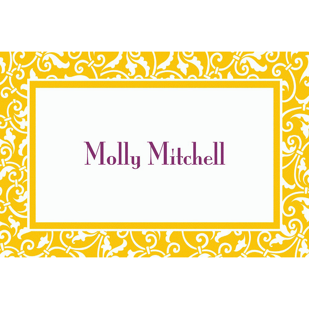 Custom Sunshine Yellow Ornamental Scroll Thank You Notes Image #1