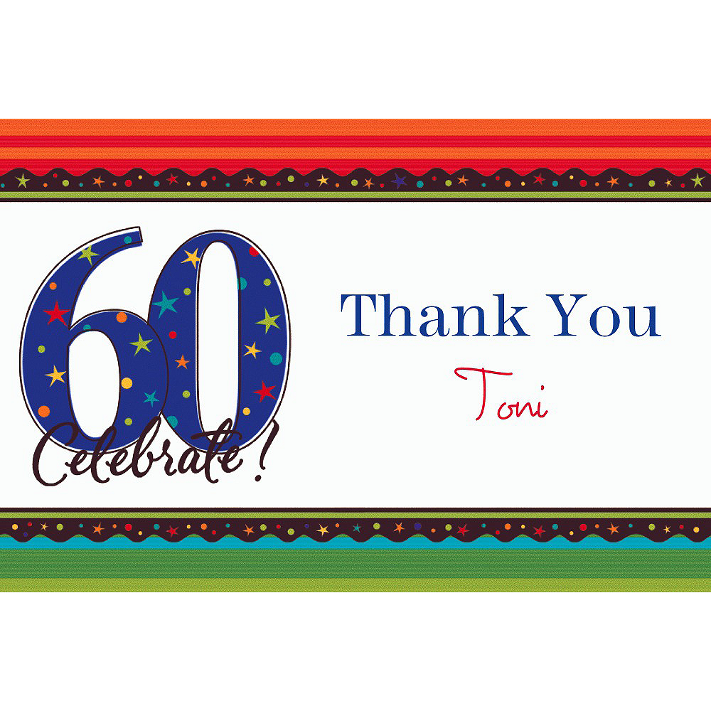 Custom A Year to Celebrate 60th Thank You Notes Image #1