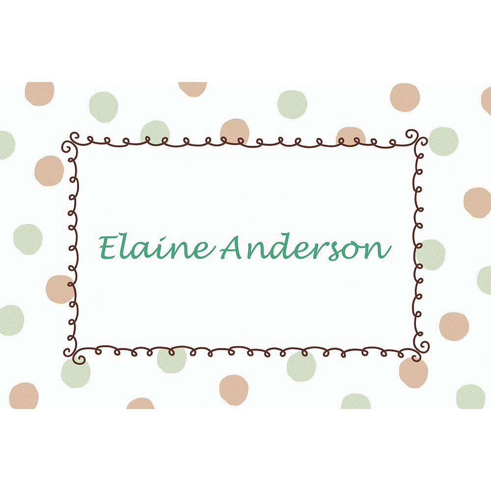 Custom Green Dots Border Baby Shower Thank You Notes Image #1