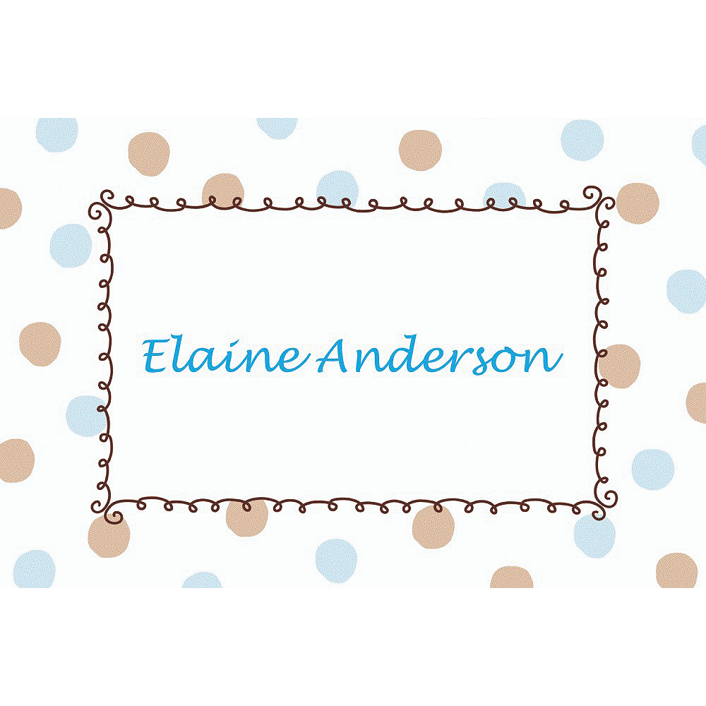 Custom Blue Dots Border Baby Shower Thank You Notes Image #1