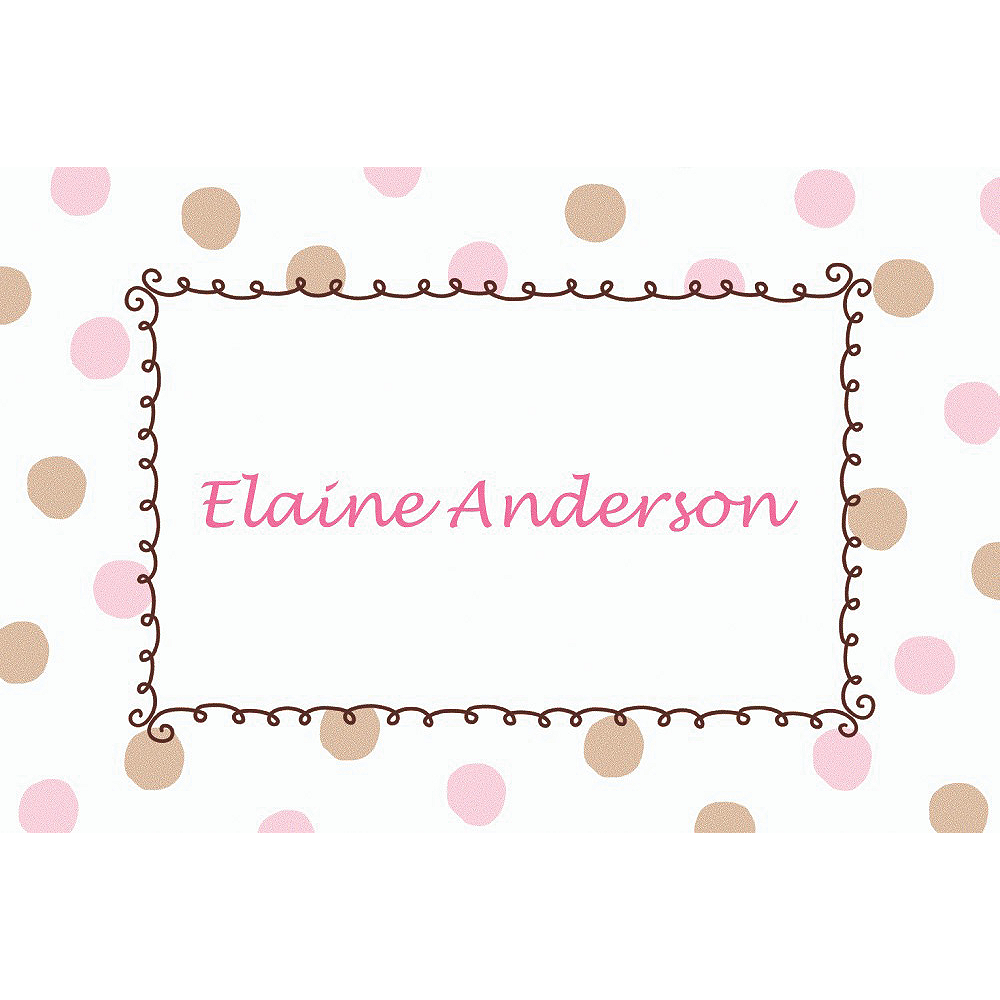 Custom Pink Dots Border Baby Shower Thank You Notes Image #1