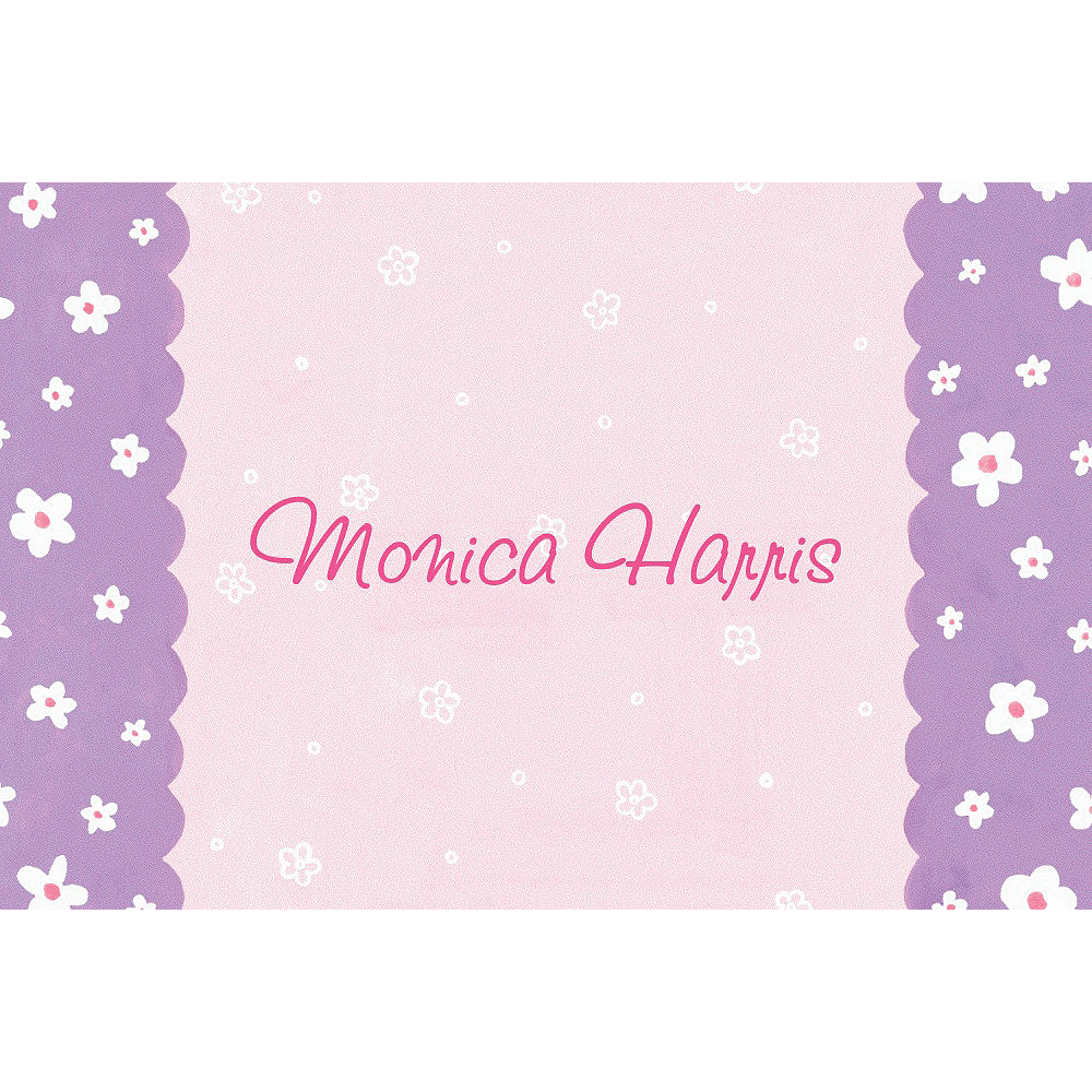Custom Dainty Flowers & Scallop Baby Shower Thank You Notes Image #1