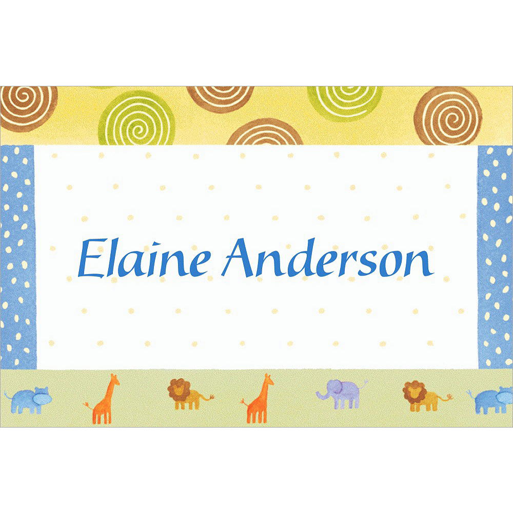 Custom Jungle Animal Patchwork Baby Shower Thank You Notes Image #1