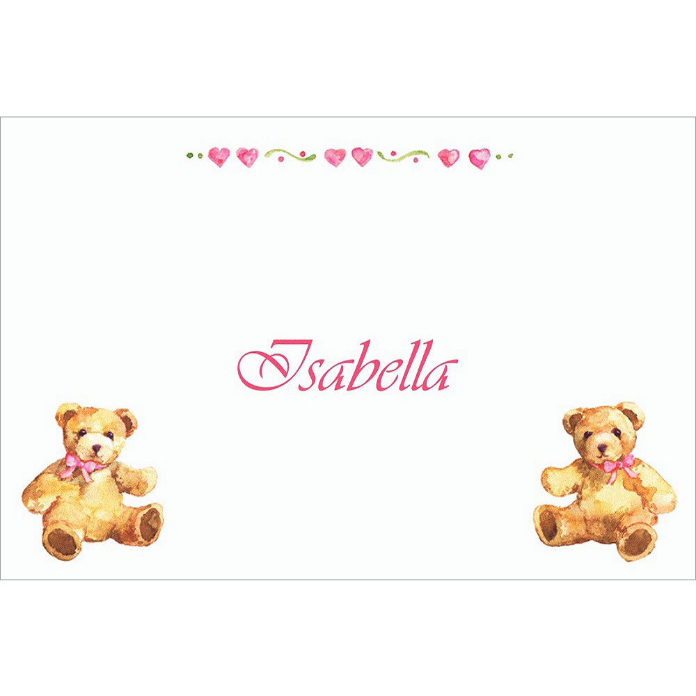 Custom Teddy Bears with Pink Baby Shower Thank You Notes Image #1