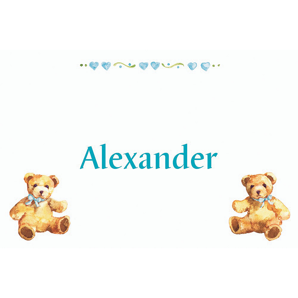 Custom Teddy Bears with Blue Baby Shower Thank You Notes Image #1