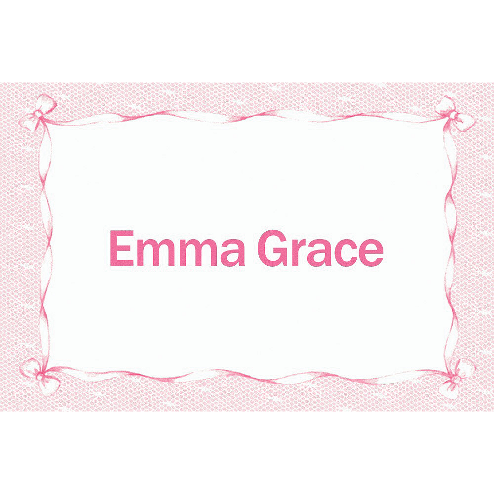 Custom Pink Lace & Bows Baby Shower Thank You Notes  Image #1