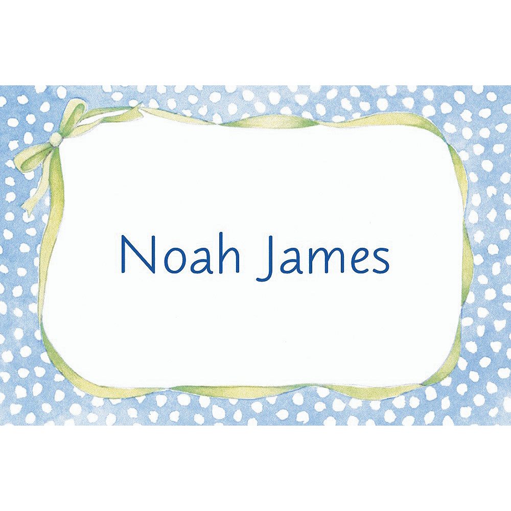 Custom Blue Polka Dots Baby Shower Thank You Notes Image #1