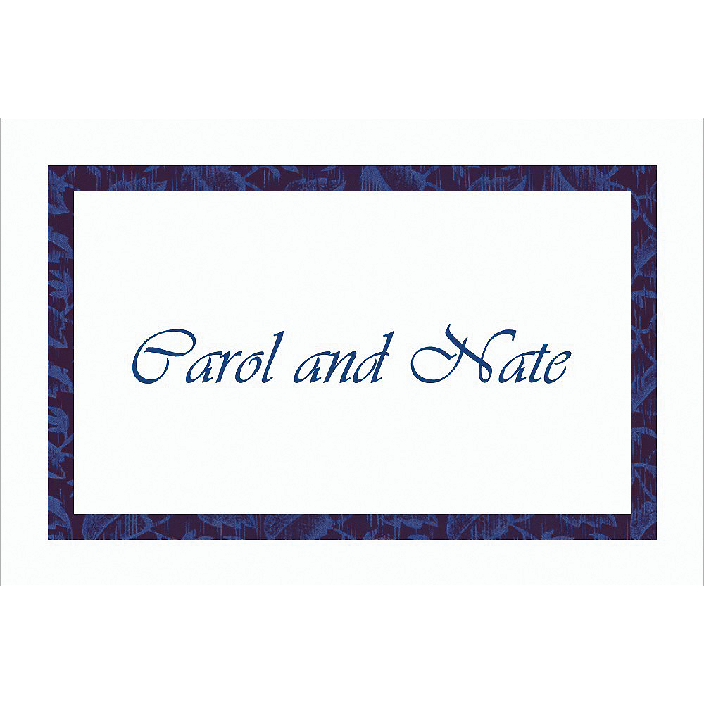Custom Narrow Navy Damask Thank You Notes  Image #1
