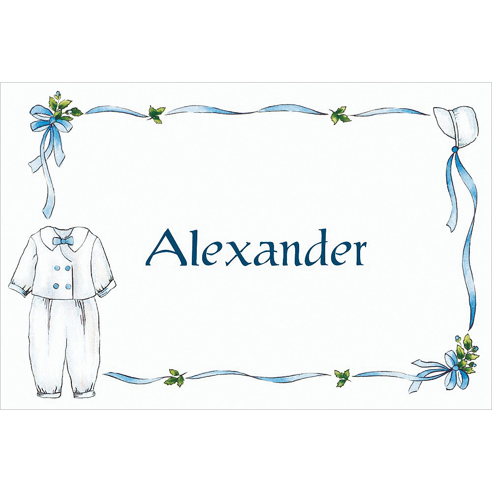 Custom Boy's Christening Outfit Thank You Notes Image #1