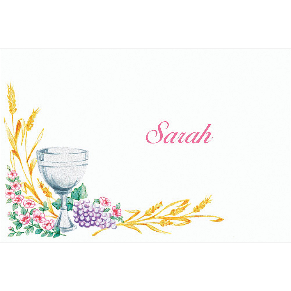Custom Communion with Flowers Thank You Notes Image #1