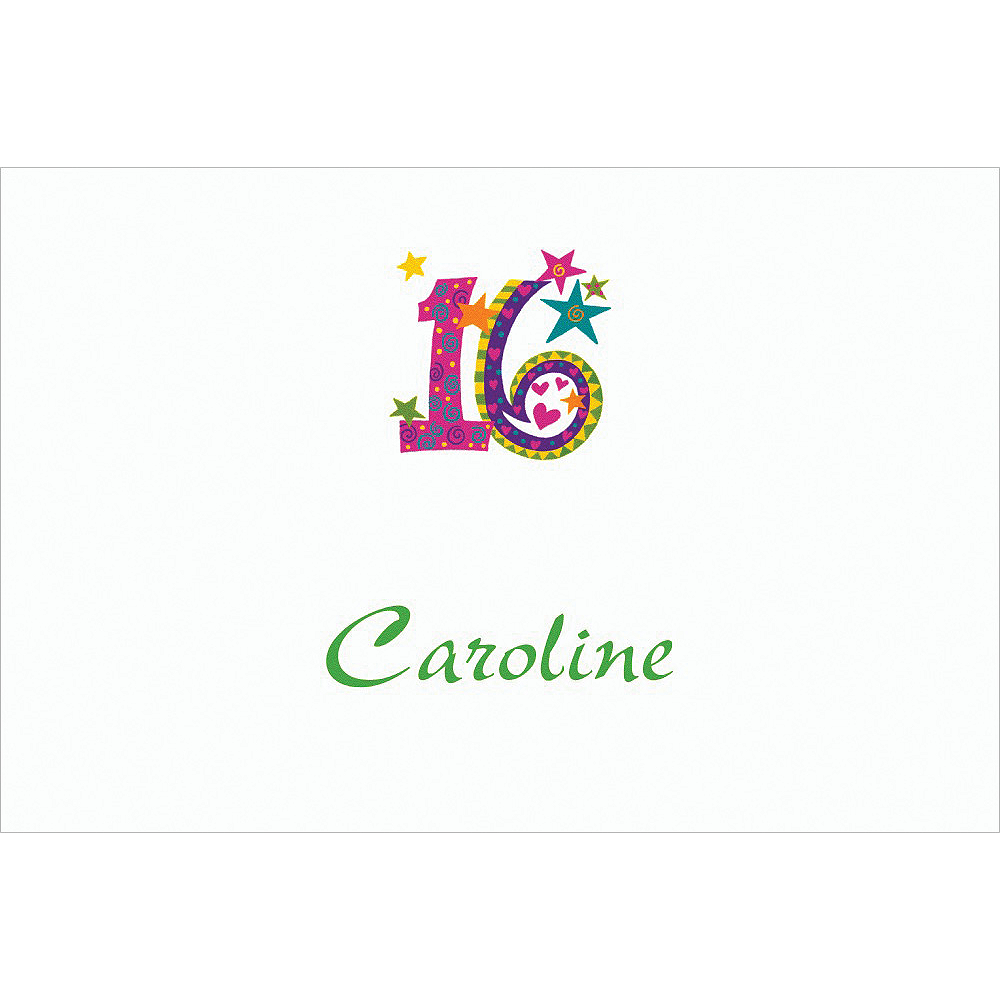 Custom Colorful 16th Birthday Thank You Notes Image #1