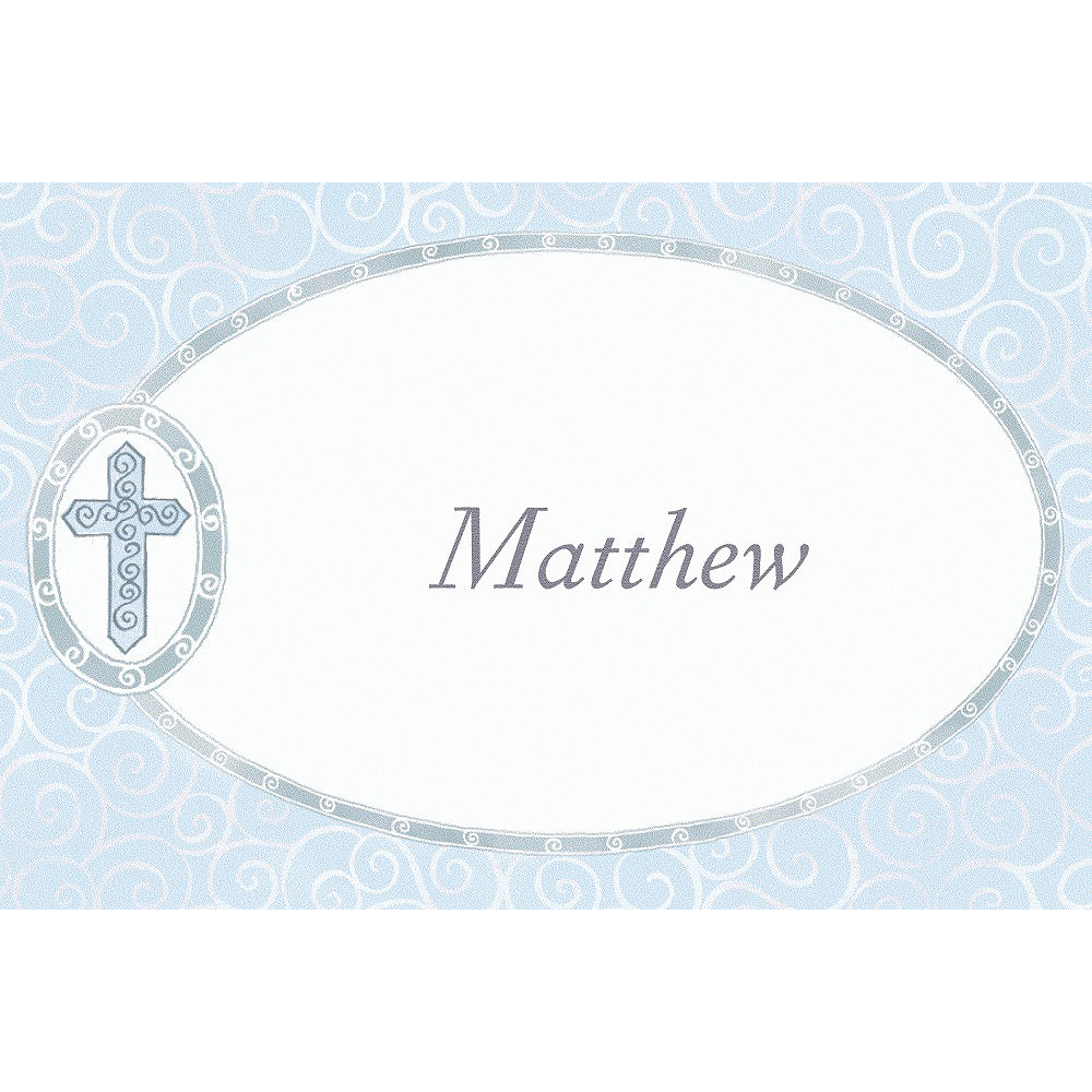 Custom Blue Cross with Filigree Thank You Notes Image #1