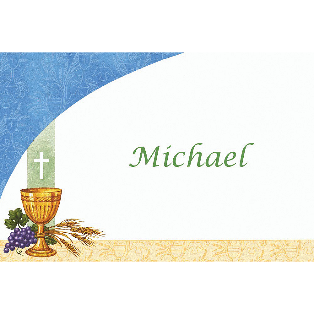Custom Chalice with Blue Pattern Thank You Notes Image #1