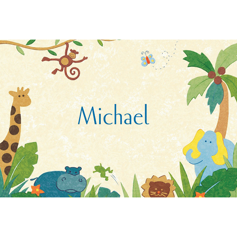 Custom Cute Jungle Animals Baby Shower Thank You Notes  Image #1