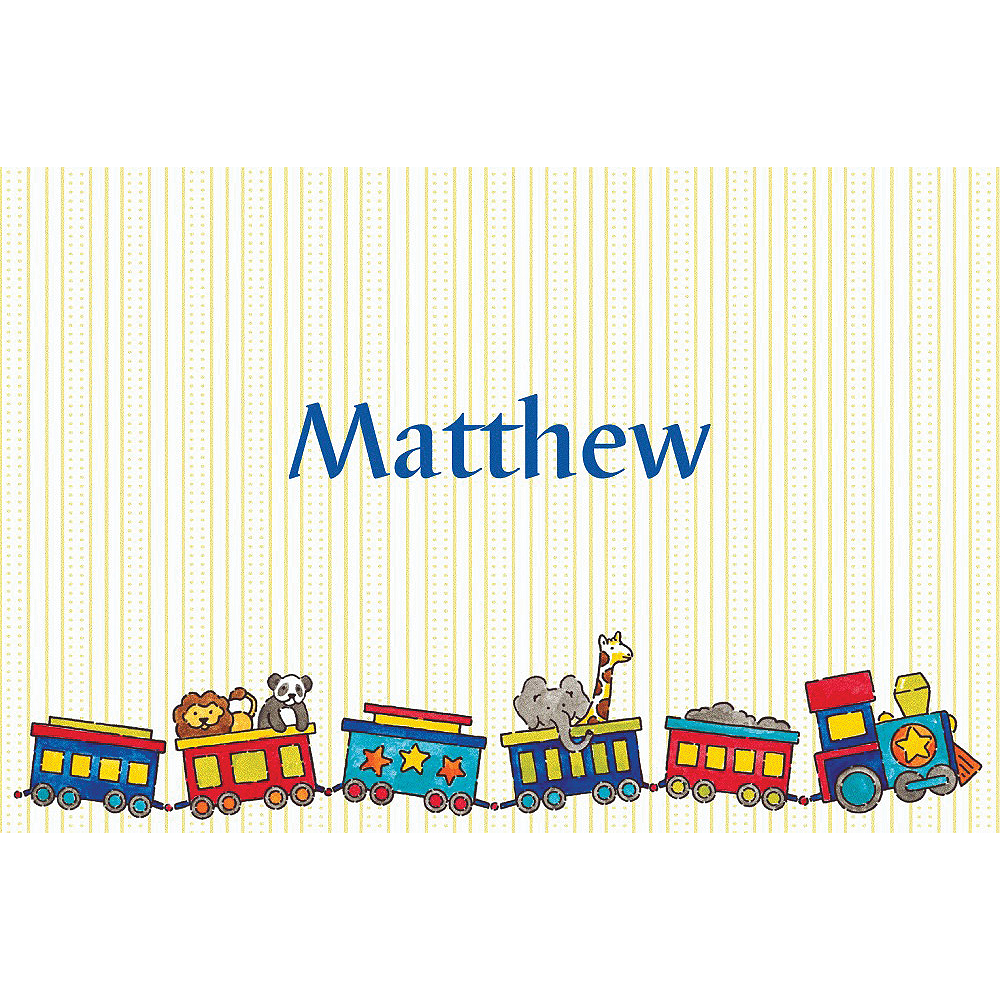 Custom Little Trains Baby Shower Thank You Notes Image #1