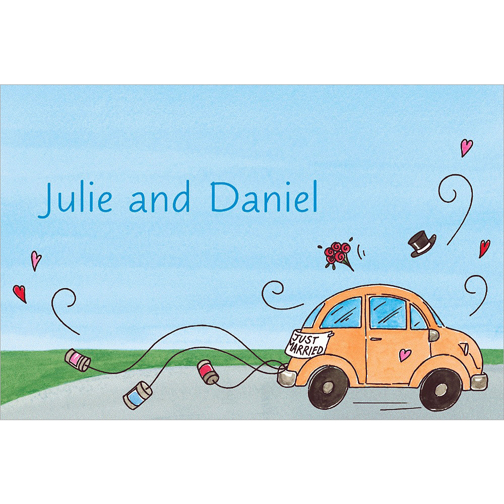 Custom Just Married Getaway Car Bridal Shower Thank You Notes Image #1