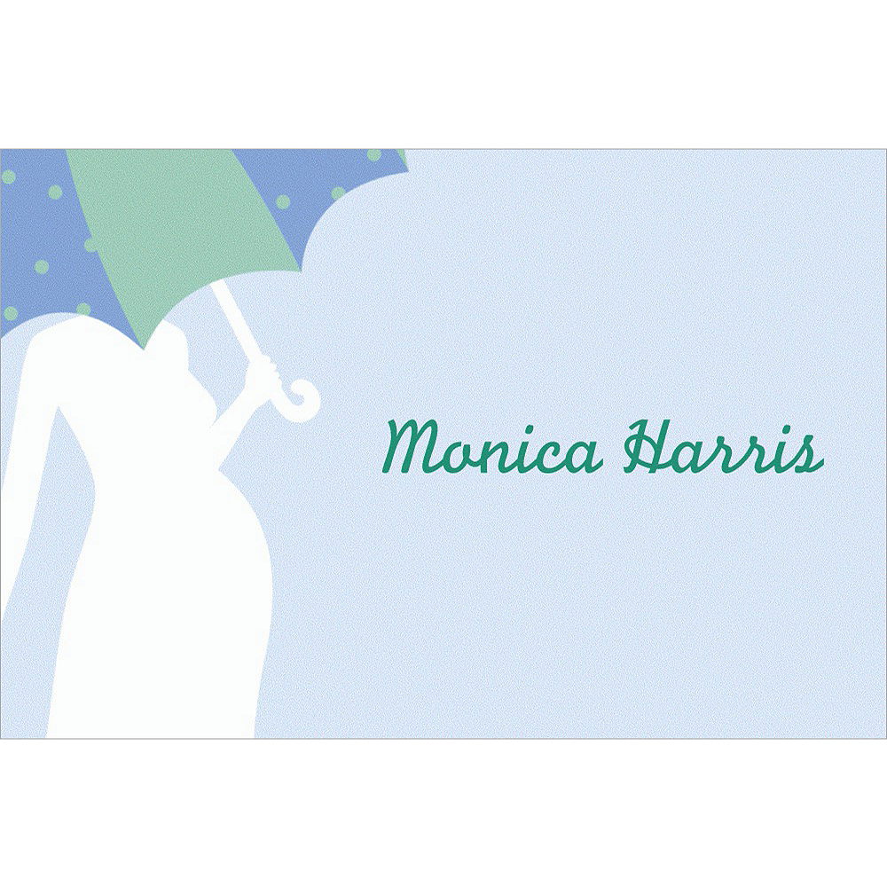 Custom Mommy with Umbrella Blue Baby Shower Thank You Notes Image #1