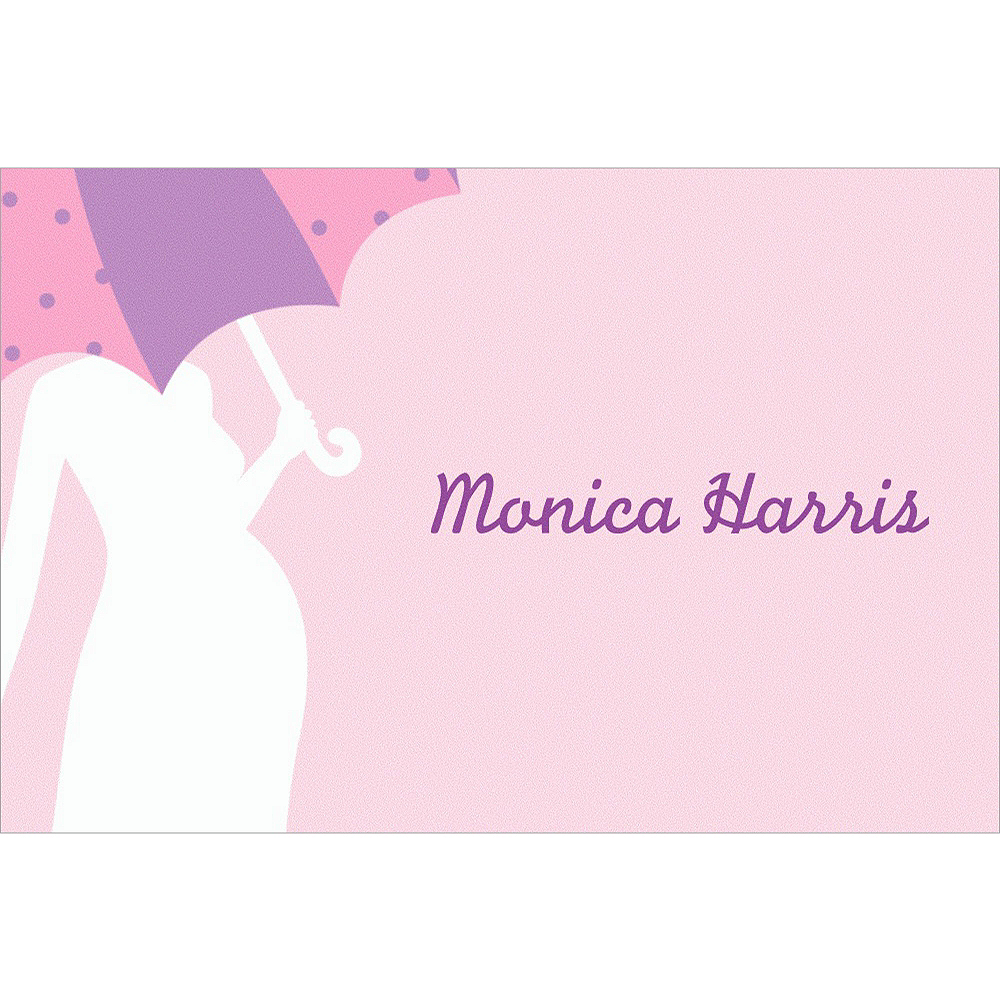 Custom Mommy with Umbrella Pink Baby Shower Thank You Notes Image #1