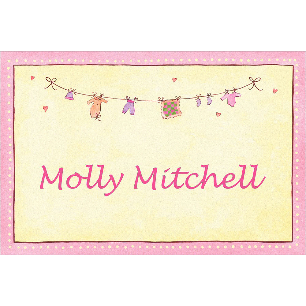 Custom Pink Laundry Baby Shower Thank You Notes Image #1