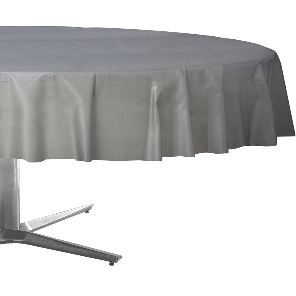 Silver Plastic Round Table Cover Image #1