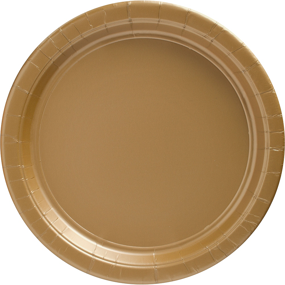 Gold Paper Dinner Plates 20ct Image #1