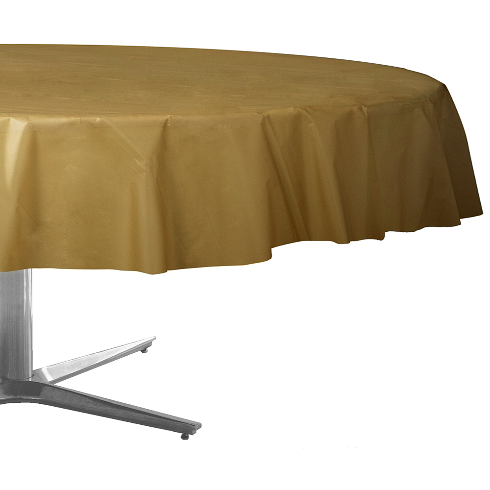 Gold Plastic Round Table Cover Image #1